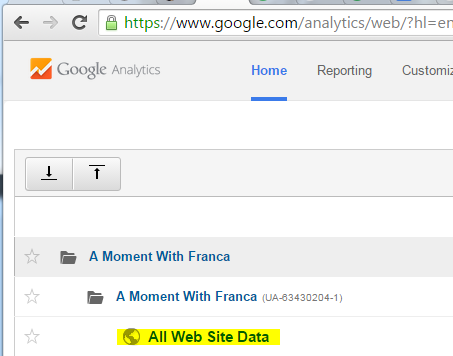 Select your website data