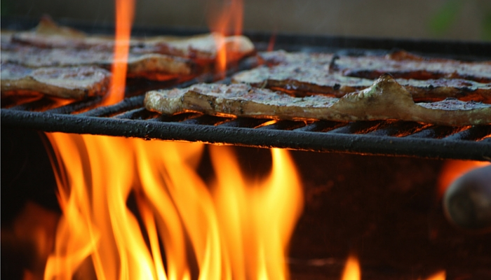 Grill on a Level Surface