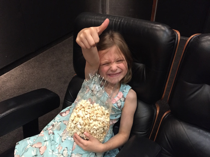 Bella having pop corn