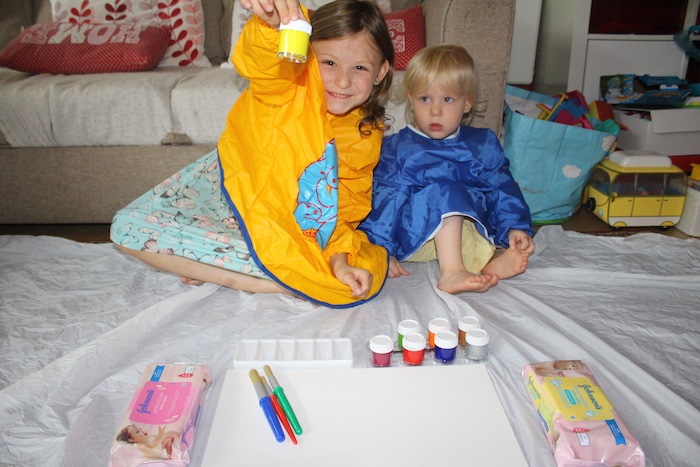 Bella and Sienna ready to paint