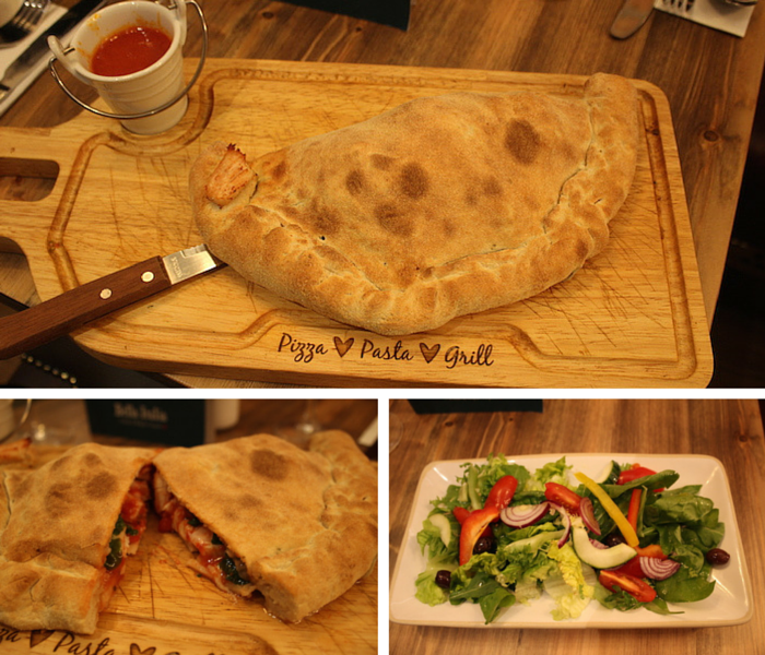 Pollo e Spinaci Calzone collage