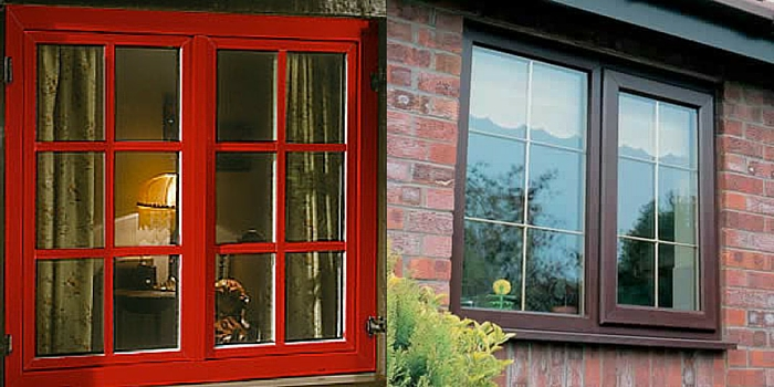 Red and Rosewood Coloured Windows