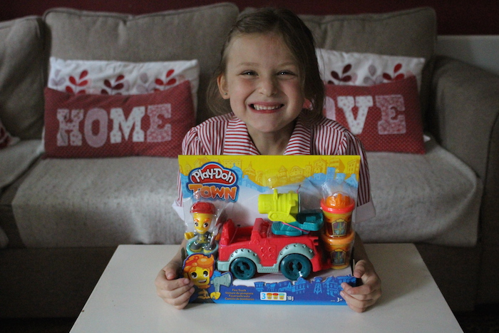 Bella with Play-Doh Fire Truck box 1