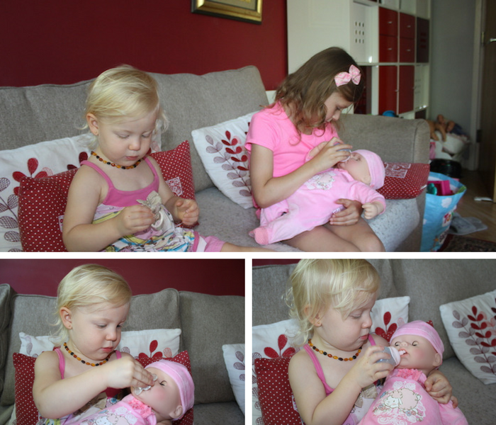 Sienna & Bella playing with Baby Annabell collage