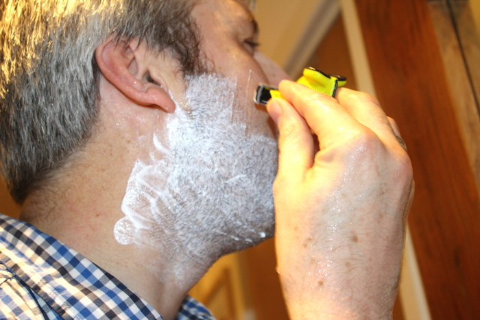 Nick shaving with Evoshave 1
