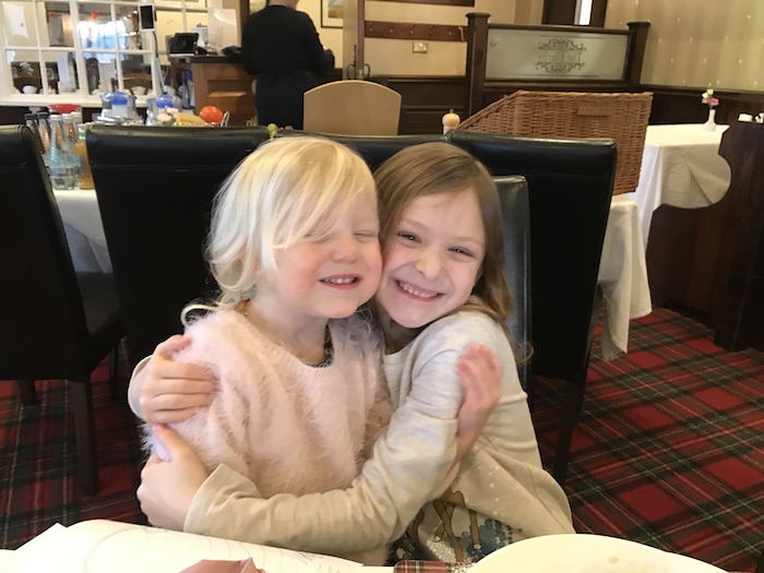 Sienna & Bella having breakfast at The Ellerby