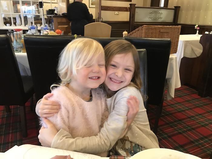 Sienna & Bella having breakfast at The Ellerby