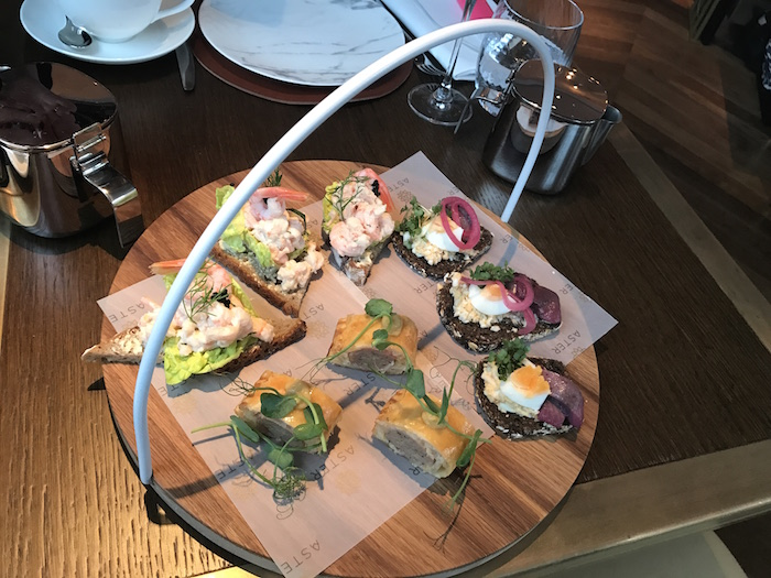 Smorgasbord open sandwiches at Aster