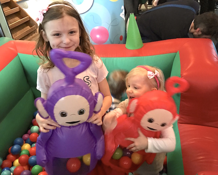 Bella & Sienna at soft play area at Teletubbies Party