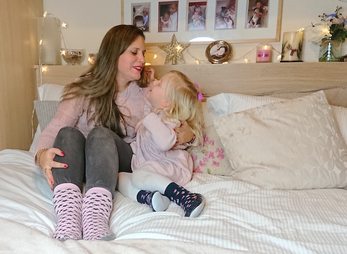 Mummy & daughter having a special moment while wearing Quality Hand-Sewn Scandinavia Moccis