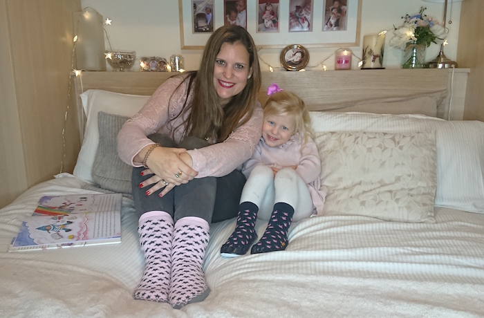 Mummy & daughter happy wearing Quality Hand-Sewn Scandinavia Moccis