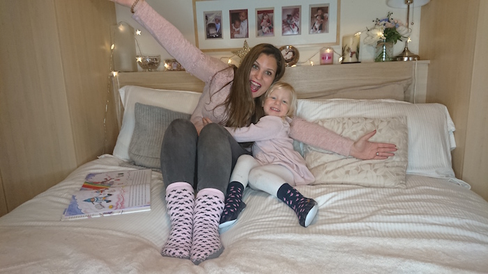Mummy & daughter extremely happy wearing Quality Hand-Sewn Scandinavia Moccis