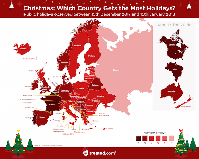 Treated.com - Map of the world showing the countries with amount of public holidays