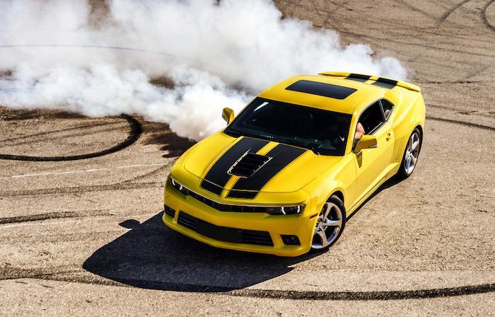 Luxury yellow sport car drifting, motion capture