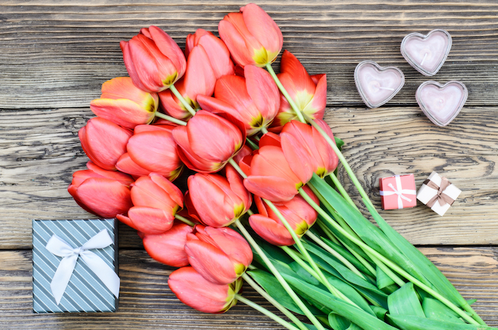 Bouquet of fresh colorful red tulips with a decorative three gift lying on a rustic wooden background symbolic of an anniversary, Valentines Day and love, overhead view