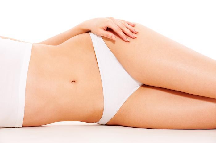 beautiful woman's body in white underwear